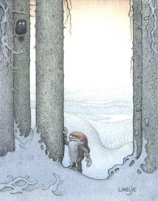Tomte met boom en uil